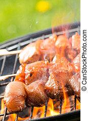 Grilled chicken skewer
