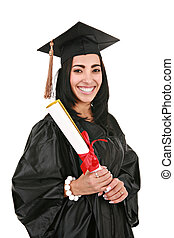 Hispanic Female College Graduate Portrait on Isolated White...