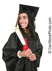Big Smile Hispanic College Graduate Isolated on White...