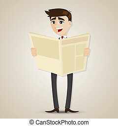 cartoon businessman reading newspaper