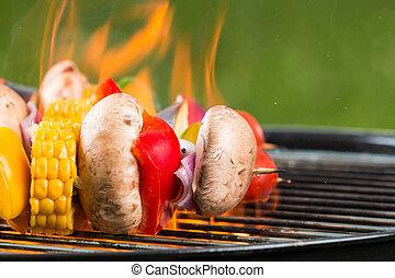 asado parrilla, vegetariano, brochetas, fuego