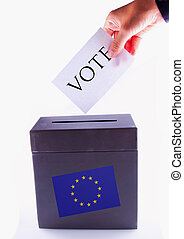 European Urn for vote - Urn for vote, with male hand posting...