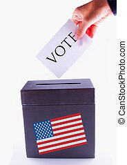 US Urn for vote - Urn for vote, with male hand posting vote...
