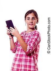 smiling little girl  with a tablet