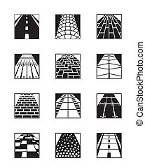 Different types of road surfaces - vector illustration