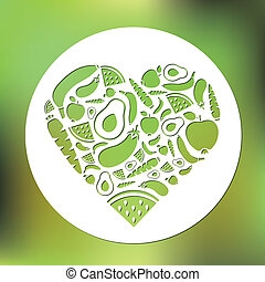 fruits and vegetables heart in circle