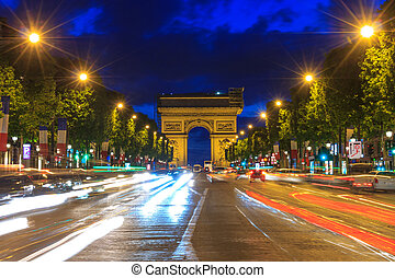 Arc de triomphe Paris at sunset - Arc de triomphe Paris Arch...