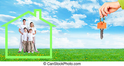 Happy family near new home Mortgage concept