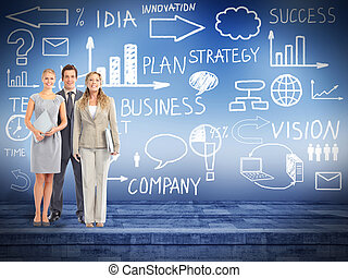 Business team - Business people group over conceptual scheme...