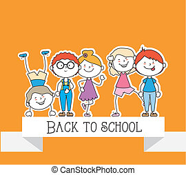 Kids design over yellow background, vector illustration