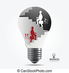 businessman up the Ladder paper light bulb cut style...