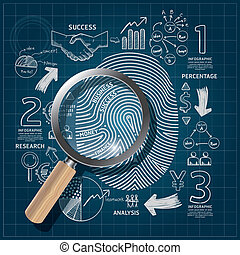 Business Fingerprint doodles line drawing blueprint success...