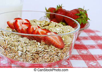 cereals for healthiness - fresh strawberries wi