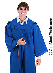 Happy Young College Student in Graduation Outfit