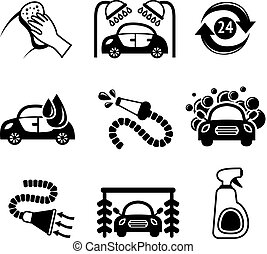 Car wash icons black and white - Car wash black and white...