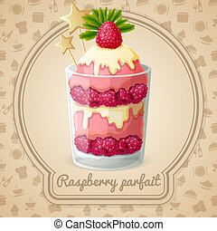 Raspberry parfait emblem - Raspberry parfait dessert with...