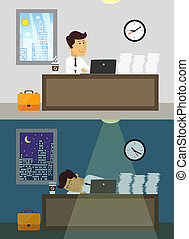 Office worker day and night - Business life workaholic...