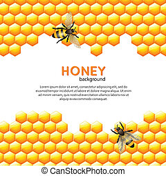 Honey bee background - Flying bees with sweet honey comb...