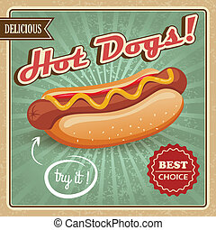 Hot dog poster - Drawing hot dog delicious fast food best...