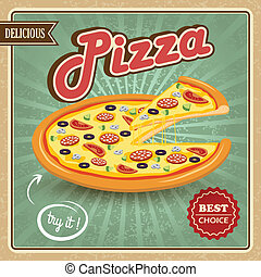 Pizza retro poster - Round hot delicious tasty meat cheese...