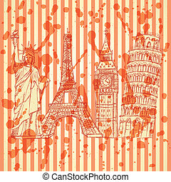 Sketch Eifel tower, Pisa tower, Big Ben and Statue of...