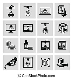 Printer 3d icons set - Printer 3d black icons set of...
