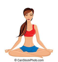 Young woman in lotus pose - Young sexy slim woman practicing...