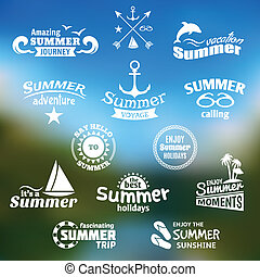 Summer element label set - Vintage summer voyage amazing...