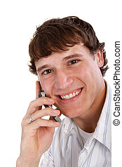 Young Man on Cellphone Smiling