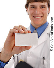 Young Doctor Holding Business Card - Shallow DOF