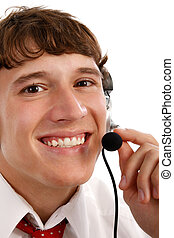 Friendly Tech Support Guy Closeup - Smiling Friendly Tech...