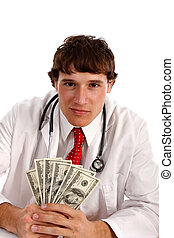 Man Holding Money with Smirk Expression - Man Holding Money...