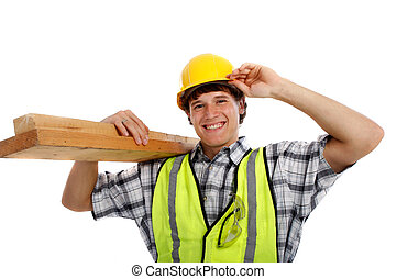 Young Happy Carpenter Holding Building Materials on Isolated...