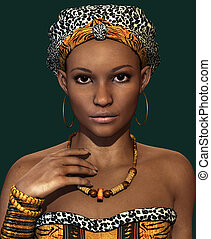 African Lady CA, 3d CG - 3d computer graphics of a young...