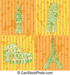 Sketch Eifel tower, Pisa tower, Big Ben and Coliseum, vector...