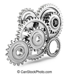 Cog gears mechanism concept 3d Isolated on white background...
