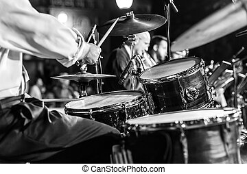 Musician at a concert - At a concert musician playing his...