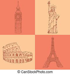 rys, Eifel, wieża, Coliseum, Cielna, Ben, Statua, Swoboda,...