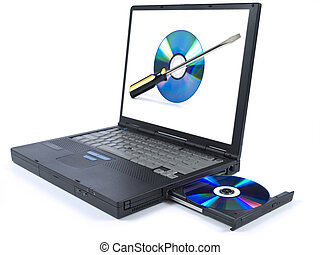 Technical support - Isolated black laptop with a DVD in tray...
