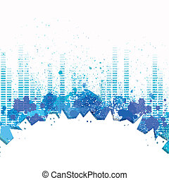 Vector City Background with Music Equalizer