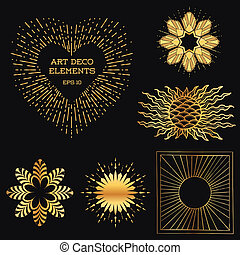 Art Deco Vintage frames and design elements - Sun Burst - with place for your text - in vector