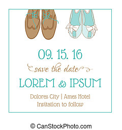 Wedding Invitation Card - with Wedding Shoes - Save the Date...