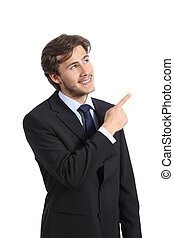 Handsome business man pointing at side presenting a product...