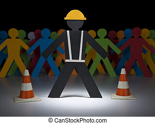 Paper men at work - A paper construction worker stands under...