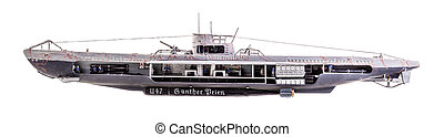 U-Boat cutaway - The German submarine U-47 was a Type VIIB...