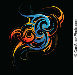 Water and fire fusion - Vector illustration of water and...