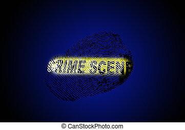 crime scene tape blue - Fingerprint and crime scene tape on...