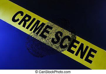 fingerprint - Yellow crime scene tape and a fingerprint