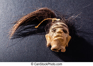 Shrunken head - a shrunked monkey head from ecuador over a...