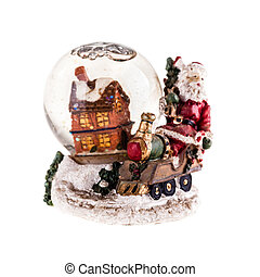 Snow globe - a christmas themed snow globe with a house and...